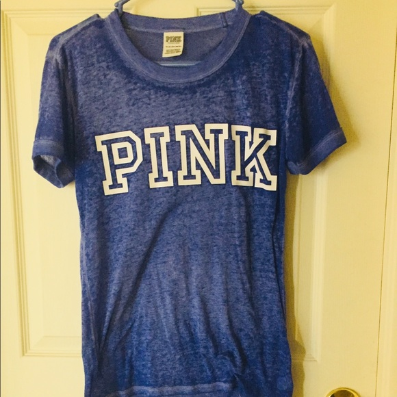 PINK Victoria's Secret Tops - Pink Logo Blue Tee FINAL PRICE